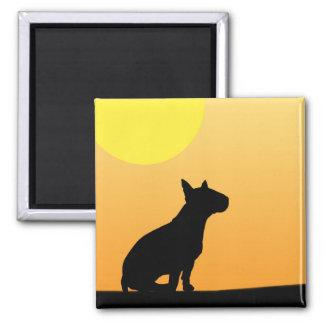 Sommer-Sonnenuntergang-Bullterrier Quadratischer Magnet