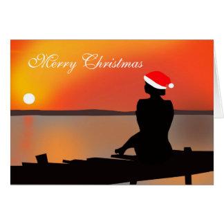 Sommer-Sonnenuntergang-Weihnachtskarte Karte