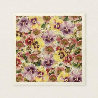Sommer-Stiefmütterchen-Wildblumemonogramm Serviette