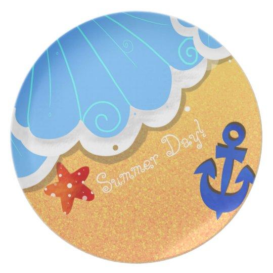 Sommer-Strandmelaminplatte Teller