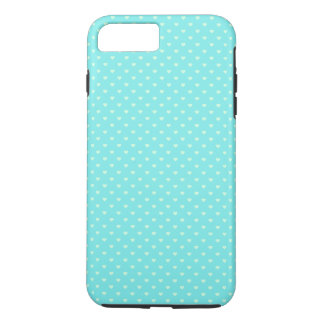 Sommer-tadellose grüne Tupfen-Herzen auf Aqua-Blau iPhone 7 Plus Hülle