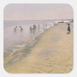 Sommer-Tag am Südstrand von Skagen, 1884 Quadratischer Aufkleber