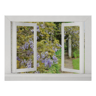 Sommer-Tage - offenes Fenster-Ansicht mit blauen G Poster