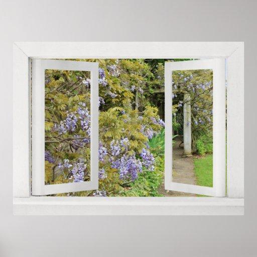 Sommer-Tage - offenes Fenster-Ansicht mit blauen G Posterdrucke