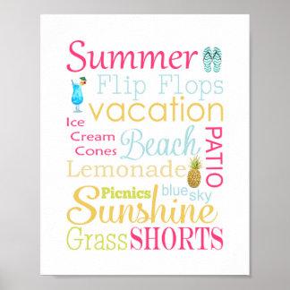 Sommer-Typografie-Wand-Kunst-Druck Poster