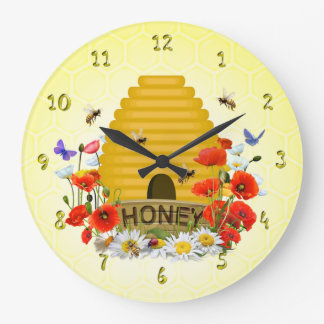 Sommer-Wiesen-Bienenstock-Honig-Uhr Große Wanduhr