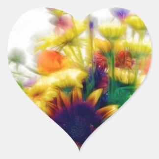 Sommer-Wildblume-Blumenstrauß Herz-Aufkleber