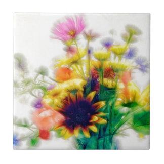 Sommer-Wildblume-Blumenstrauß Keramikfliese