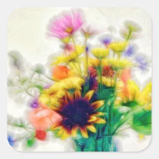 Sommer-Wildblume-Blumenstrauß Quadratischer Aufkleber