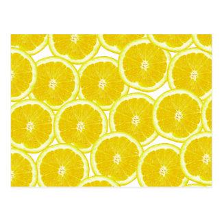 Sommer-Zitrusfrucht-Zitronen-Scheiben Postkarte