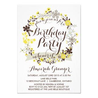 Sommerblumenwreath-Geburtstags-Party Einladung