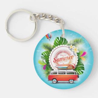 Sommerferien Kreis (doppelseitiges) Keychain Schlüsselanhänger