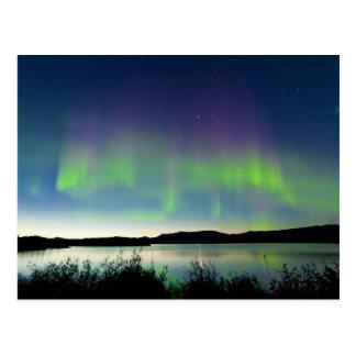 Sommernachtnordlichter über See Laberge Postkarte