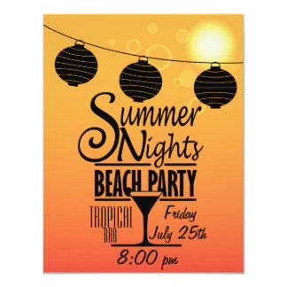 Sommernachtstrand-Party Einladungsentwurf 10,8 X 14 Cm Einladungskarte