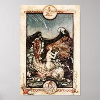 Sommernachtstraum-Meerjungfrauen Arthur Rackham Poster