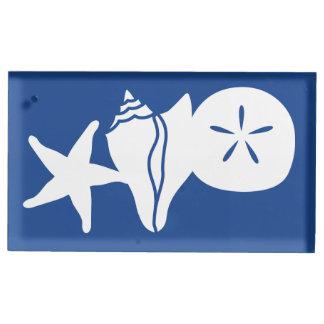 SommerSeashells im blauen Tabellen-Karten-Stand