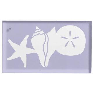 SommerSeashells im Lavendel-Tabellen-Karten-Stand