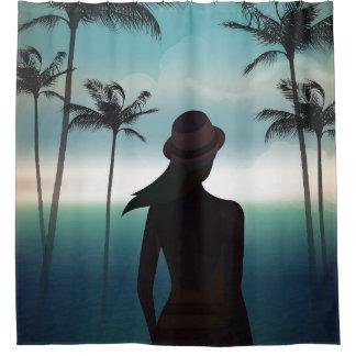 Sommerstrandhintergrund mit Palmen Duschvorhang