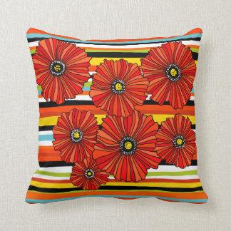 Sommerstreifenmohnblumen-Blume Throwkissen Kissen