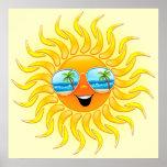 Sommersun-Cartoon mit Sonnenbrilleplakat Plakate