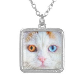 Sonderbar-Mit Augen weiße persische Katze Versilberte Kette