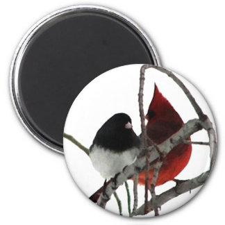 Sonderbare Paare - Vögel in Bush Runder Magnet 5,1 Cm
