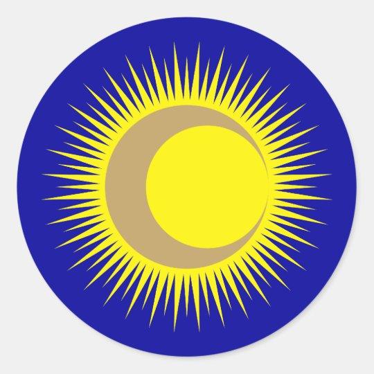 Sonne Mond sun moon Runder Aufkleber