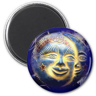Sonnegesichts-Mondgesichts-Blaumagnet Runder Magnet 5,7 Cm
