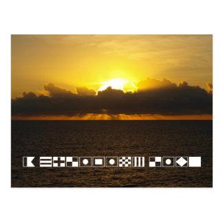 """Sonnenaufgang """"ein kreuzendes Leben"""" buchstabiert Postkarte"""