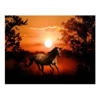 Sonnenaufgang-Einhorn Postkarte
