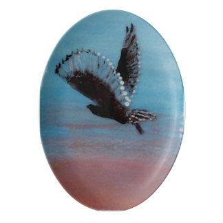 Sonnenaufgang-Eulen-Kunst Porzellan Servierplatte