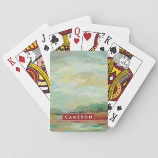 Sonnenaufgang-Feld-abstrakter Druck   Silvia Spielkarten