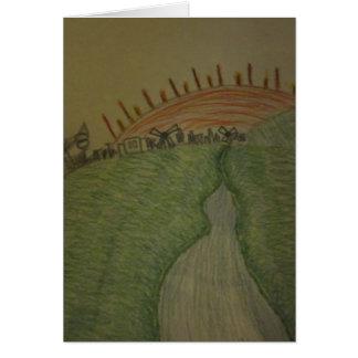 Sonnenaufgang in farbiger Bleistift-irischer Grußkarte
