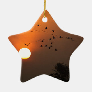 Sonnenaufgang mit Mengen der Fliegenkräne Keramik Stern-Ornament
