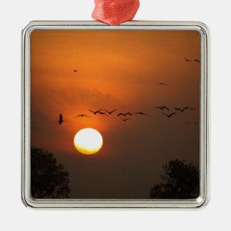 Sonnenaufgang mit Mengen der Fliegenkräne Quadratisches Silberfarbenes Ornament