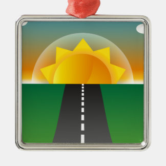 Sonnenaufgang-Straßen-Cartoon Quadratisches Silberfarbenes Ornament