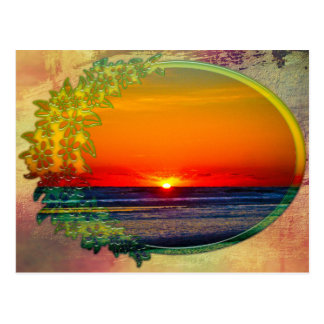 Sonnenaufgang über atlantischem Oval mit Blumen Postkarte