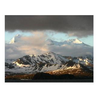 Sonnenaufgang über den Gebirgszügen auf Süden 2 Postkarte