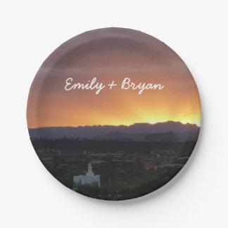 Sonnenaufgang über Landschaft St George Utah Pappteller