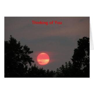 Sonnenaufgang und Bäume, denkend an Sie Karte