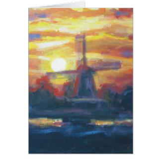 Sonnenaufgang-Windmühlen-Malerei Karte