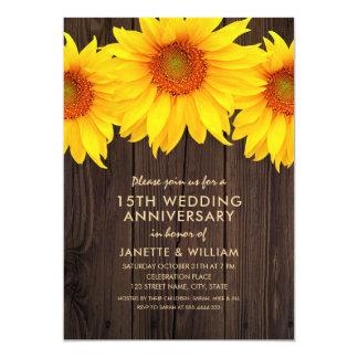 Sonnenblume-15. Hochzeitstag-rustikales Holz Karte