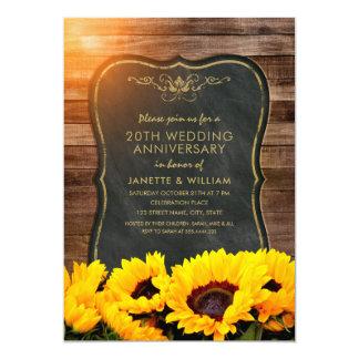 Sonnenblume-20. Hochzeitstag-rustikaler Fall Karte