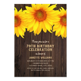 Sonnenblume-70. Geburtstags-Party-rustikales Holz Karte