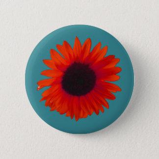 Sonnenblume-Abzeichen (orange und aquamarin) Runder Button 5,1 Cm