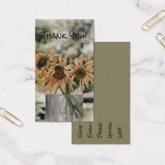 Sonnenblume-antike Sommer-Sonnenblumen im Vase Visitenkarte