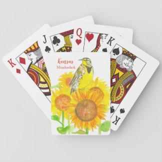 Sonnenblume-Aquarell Kansas Meadowlark Spielkarten
