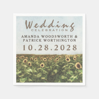 Sonnenblume-Aquarell-Land-Hochzeits-Servietten Papierservietten