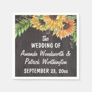 Sonnenblume-Aquarell-Land-rustikale Hochzeit Papierserviette
