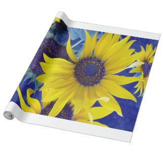 Sonnenblume auf blauem Entwurfs-Packpapier Geschenkpapier